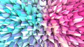 Superficie polivinílica baja rosada azul simple abstracta 3D y cristales blancos que vuelan como fondo cibernético Punto bajo geo ilustración del vector