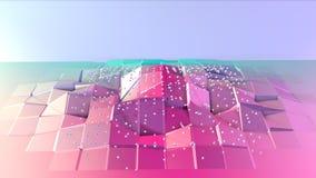 Superficie polivinílica baja rosada azul simple abstracta 3D y cristales blancos que vuelan como fondo de la ciencia ficción Poli stock de ilustración