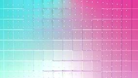 Superficie polivinílica baja rosada azul simple abstracta 3D y cristales blancos que vuelan como fondo de la fantasía Polivinílic ilustración del vector