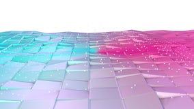 Superficie polivinílica baja rosada azul simple abstracta 3D y cristales blancos que vuelan como fondo de la historieta Poliviníl ilustración del vector