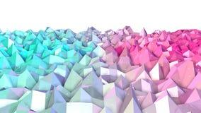 Superficie polivinílica baja rosada azul simple abstracta 3D y cristales blancos que vuelan como fondo de la historieta 3d Punto  ilustración del vector