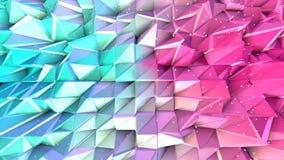 Superficie polivinílica baja rosada azul simple abstracta 3D y cristales blancos que vuelan como fondo de la tecnología Punto baj libre illustration