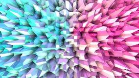 Superficie polivinílica baja rosada azul simple abstracta 3D y cristales blancos que vuelan como fondo del espacio Polivinílico b ilustración del vector