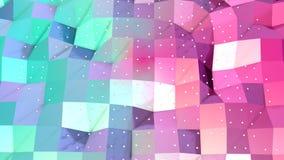 Superficie polivinílica baja rosada azul simple abstracta 3D y cristales blancos que vuelan como fondo del fractal Polivinílico b ilustración del vector