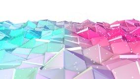 Superficie polivinílica baja rosada azul simple abstracta 3D y cristales blancos que vuelan como fondo del juego de la historieta libre illustration