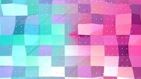 Superficie polivinílica baja rosada azul simple abstracta 3D y cristales blancos que vuelan como fondo hermoso Polivinílico bajo  libre illustration