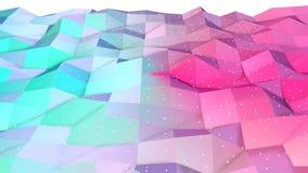 Superficie polivinílica baja rosada azul simple abstracta 3D y cristales blancos que vuelan como fondo Polivinílico bajo geométri stock de ilustración