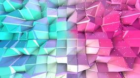 Superficie polivinílica baja rosada azul simple abstracta 3D y cristales blancos que vuelan como fondo simple Polivinílico bajo g ilustración del vector