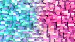 Superficie polivinílica baja rosada azul simple abstracta 3D y cristales blancos que vuelan como fondo precioso Polivinílico bajo ilustración del vector