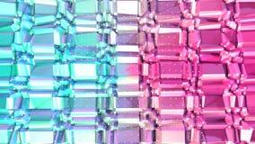 Superficie polivinílica baja rosada azul simple abstracta 3D y cristales blancos que vuelan como gráfico del elemento Polivinílic libre illustration