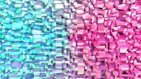 Superficie polivinílica baja rosada azul simple abstracta 3D y cristales blancos que vuelan como malla cristalina Polivinílico ba libre illustration