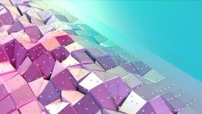 Superficie polivinílica baja rosada azul simple abstracta 3D y cristales blancos que vuelan como malla geométrica Polivinílico ba libre illustration
