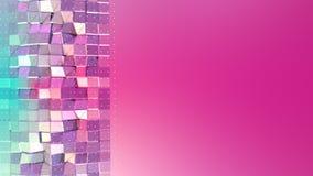 Superficie polivinílica baja rosada azul simple abstracta 3D y cristales blancos que vuelan como malla geométrica Polivinílico ba ilustración del vector