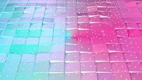 Superficie polivinílica baja rosada azul simple abstracta 3D y cristales blancos que vuelan como paisaje Fondo polivinílico bajo  libre illustration