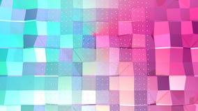 Superficie polivinílica baja rosada azul simple abstracta 3D y cristales blancos que vuelan como paisaje surrealista Polivinílico ilustración del vector
