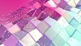 Superficie polivinílica baja rosada azul simple abstracta 3D y cristales blancos que vuelan como rejilla geométrica Polivinílico  stock de ilustración