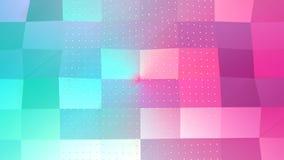 Superficie polivinílica baja rosada azul simple abstracta 3D y cristales blancos que vuelan como rejilla geométrica Polivinílico  ilustración del vector