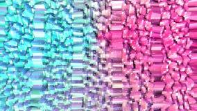 Superficie polivinílica baja rosada azul simple abstracta 3D y cristales blancos que vuelan como terreno surrealista Polivinílico ilustración del vector