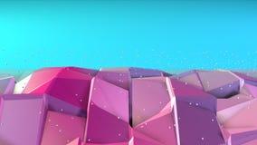 Superficie polivinílica baja rosada azul simple abstracta 3D y cristales blancos que vuelan como visualización matemática Geométr stock de ilustración