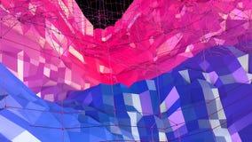 Superficie polivinílica baja simple abstracta 3D del rojo azul como ambiente de la fantasía Fondo polivinílico bajo geométrico su almacen de metraje de vídeo