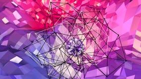 Superficie polivinílica baja simple abstracta 3D del rojo azul como ambiente futurista Fondo polivinílico bajo geométrico suave d metrajes