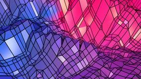 Superficie polivinílica baja simple abstracta 3D del rojo azul como contexto agradable Fondo polivinílico bajo geométrico suave d almacen de metraje de vídeo