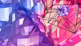 Superficie polivinílica baja simple abstracta 3D del rojo azul como fondo de la fantasía Fondo polivinílico bajo geométrico suave stock de ilustración