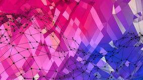 Superficie polivinílica baja simple abstracta 3D del rojo azul como paisaje Fondo polivinílico bajo geométrico suave del movimien stock de ilustración