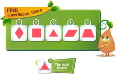 Superfluous figure triangle. Educational game for kids and adults. development of logic, iq children. Task game  find superfluous figure Royalty Free Stock Photography