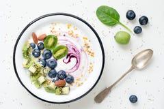 Superfood圆滑的人碗顶视图 库存照片