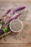 Superfood семени Chia здоровое с цветком стоковое изображение rf