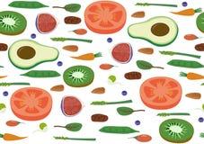 Superfood素食主义者Eco有机未加工的蔬菜和果子无缝的水平的样式 平的传染媒介素食主义者艺术 库存照片