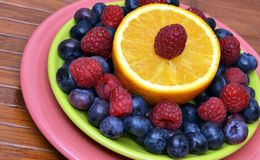 Superfood Antioxidant Fruit Plate Stock Images
