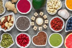 Free Superfood As Acai, Turmeric, Matcha, Seeds, Berry, Goji, Ginger, Grapefruit, Mushrooms, Pomegranate, Nuts Stock Image - 139641231