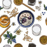 Superfood breakfast top view. Seamless botanical pattern. Realistic full color vector sketch illustration Royalty Free Stock Photography