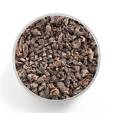 Superfood cacao nibs shot from above in a glas jar Stock Image