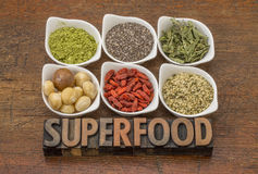 Superfood collection with word in wood type Stock Photo