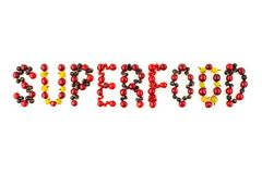 Superfood. Colorful assorted berry mix of cherry, black currant, red currant... Stock Photo