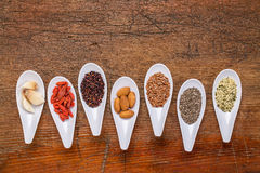 Superfood grain, seed, berry and nuts abstract Royalty Free Stock Images