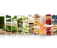 Superfood Mix Slices. Photo of chlorella, berries and seeds abstract mix slices; healthy eating, dieting and detoxication concept; white space for text royalty free stock image