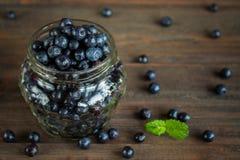 Superfood orgânico antioxidante do mirtilo em um frasco Imagem de Stock