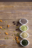 Superfood raw seeds and powder Stock Photos