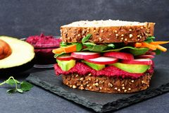 Superfood sandwich against a slate background Stock Image