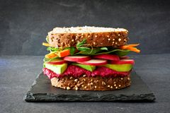 Superfood sandwich against a slate background Royalty Free Stock Photo