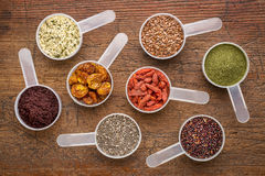 Superfood seed, berry, powder and grain Stock Images