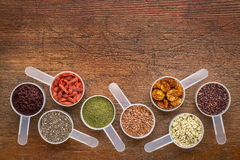 Superfood seed, berry, powder and grain Stock Photos