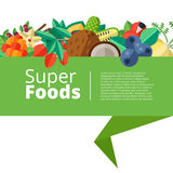 Superfood tło z owoc, warzywa, jagody, dokrętki i ilustracja wektor