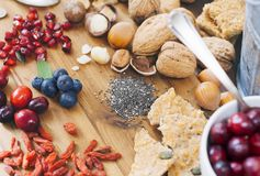 Superfood - variation des superfoods sains Photographie stock libre de droits