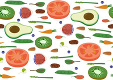 Superfood Vegan Eco Organic Raw Vegetables and Fruits Seamless horizontal Pattern. Flat Vector Vegetarian Art. Superfood Vegan Eco Organic Raw Vegetables and stock photos