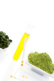 Superfood. Wheat grass, chlorella, spirulina. Royalty Free Stock Photos
